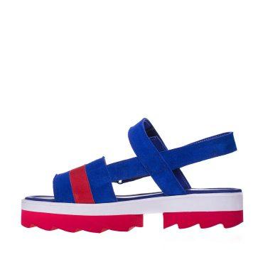 Sandale joase piele albastra piele rosie