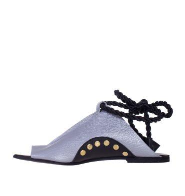 Sandale joase piele argintie
