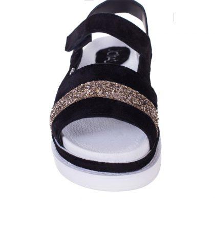 Sandale joase piele intoarsa neagra si glitter