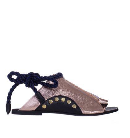 Sandale piele aurie snur