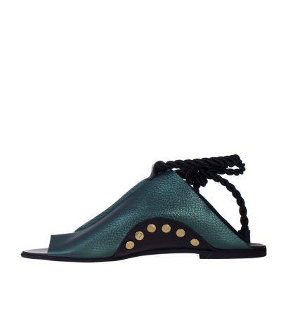 Sandale talpa joasa piele verde sidefat