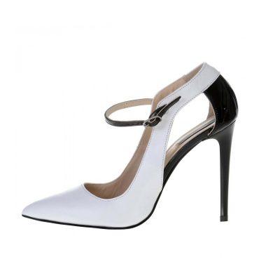 Pantofi stiletto albi piele insertii negre