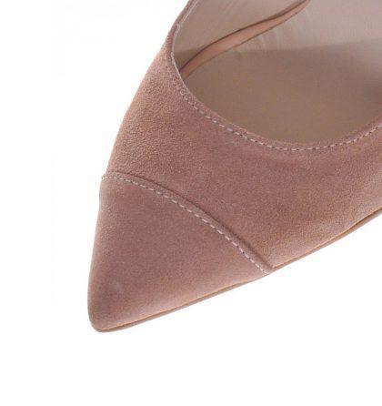 Pantofi crem stiletto piele intoarsa toc inalt