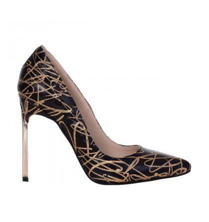 Pantofi stiletto piele neagra cu imprimeu