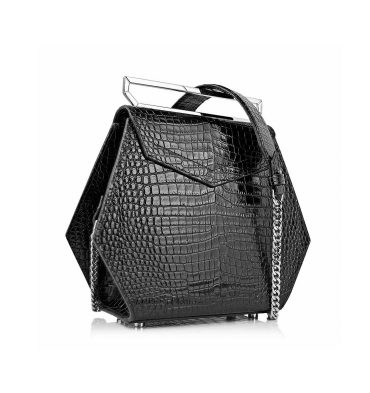 Geanta hexagonala piele negru croco