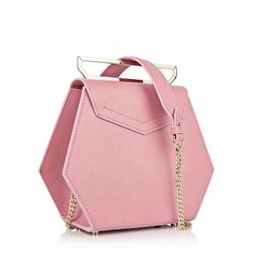 Geanta hexagonala piele roz prafuit