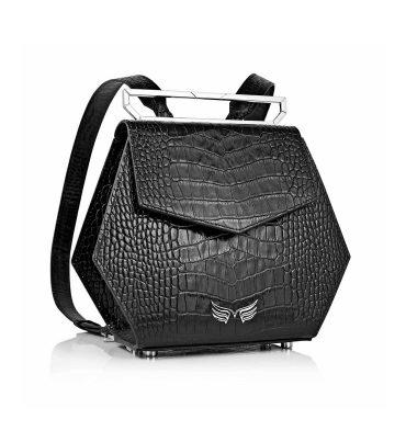 rucsac-hexagonal-piele-neagra-imprimeu-croco-1