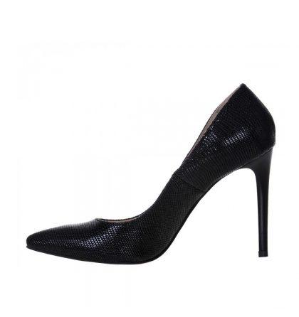 Pantofi stiletto negri piele imprimeu