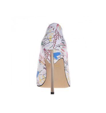 Pantofi stiletto toc metalic piele alba imprimeu