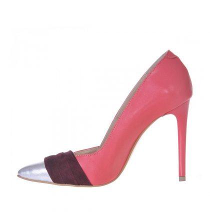 Pantofi stiletto corai piele naturala insertii mov si argintii