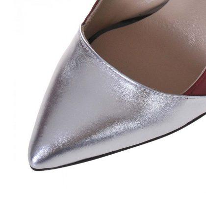 Pantofi stiletto piele bordo piele argintie