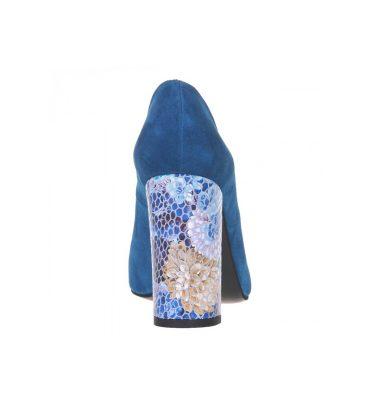 Pantofi toc gros piele albastru turcoaz
