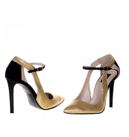 Pantofi eleganti stiletto piele aurie piele neagra
