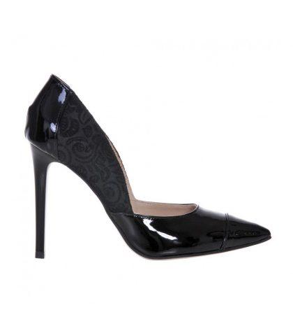 Pantofi negri stiletto piele lacuita piele imprimeu floral