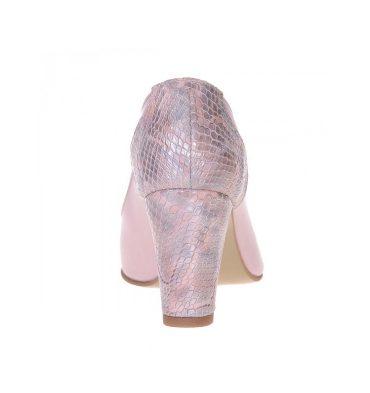 Pantofi office toc jos piele roz pal