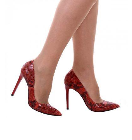 Pantofi rosii stiletto piele imprimeu sarpe