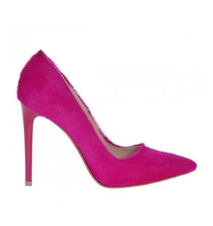 Pantofi stiletto roz fucsia piele ponei