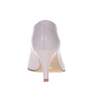 Pantofi stiletto toc jos piele ivory