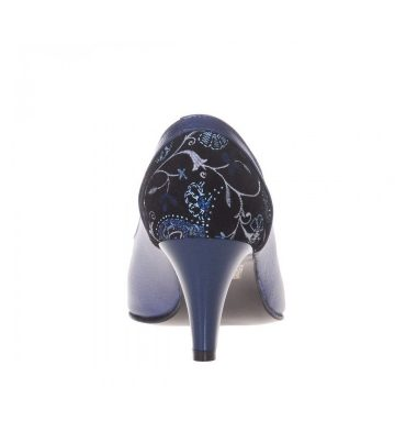 Pantofi toc jos office piele albastra imprimeu