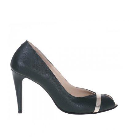 Pantofi verzi decupati piele naturala