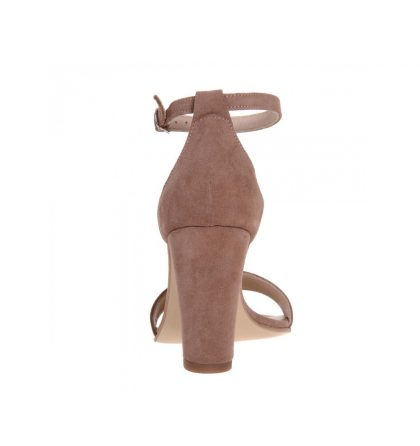 Sandale cappuccino piele intoarsa toc gros
