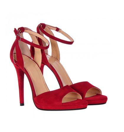 Sandale elegante rosii piele intoarsa