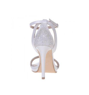 Sandale inalte glitter alb piele alba
