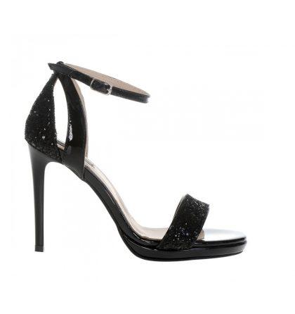 Sandale inalte glitter negru si piele lacuita neagra