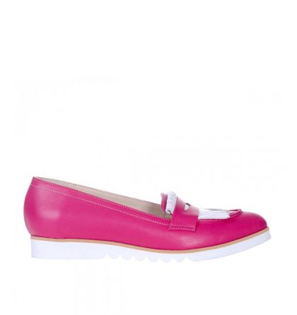 Loafers dama piele naturala roz fucsia piele alba
