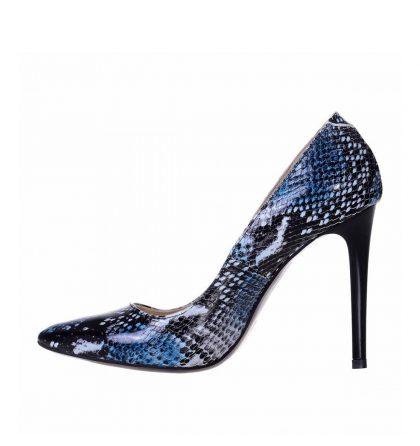Pantofi dama piele imprimeu sarpe albastru toc inalt