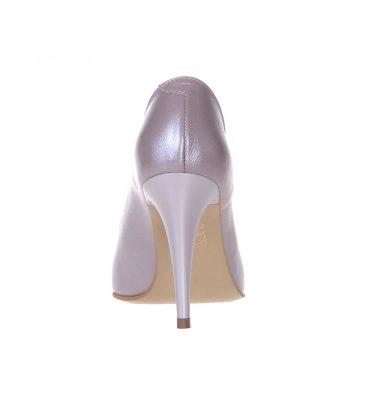 Pantofi decupati piele naturala taupe toc inalt