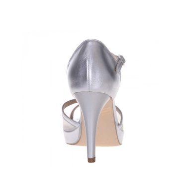 Sandale argintii piele accesorizate cu plasa