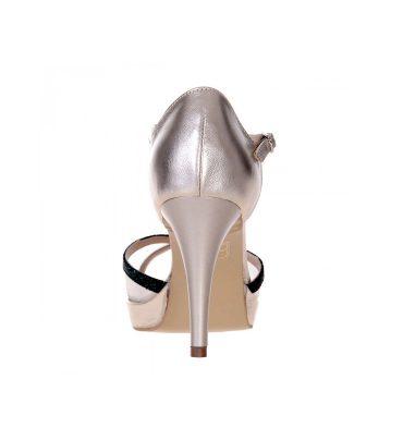 Sandale aurii piele insertii verzi toc inalt