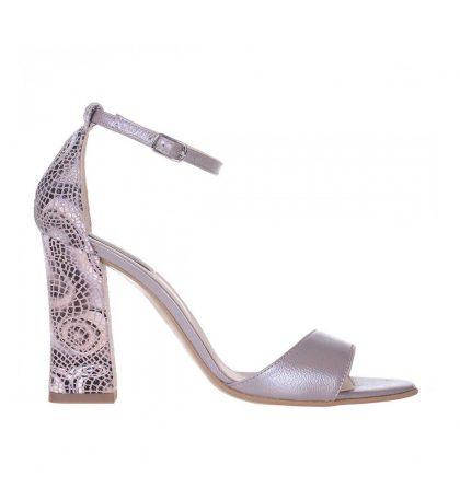 Sandale dama toc gros piele taupe piele imprimeu