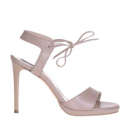 Sandale elegante bej sidefat piele naturala