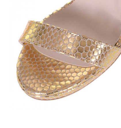 Sandale elegante dama aurii piele imprimeu