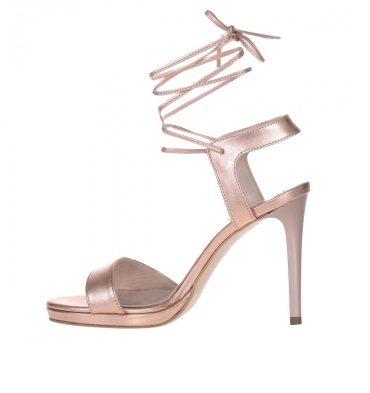 Sandale toc inalt piele naturala sampanie