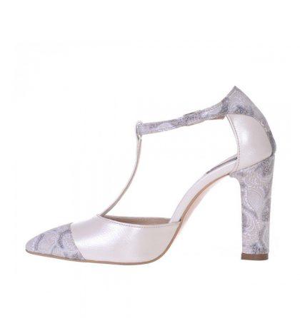 Pantofi toc gros piele ivory piele imprimeu