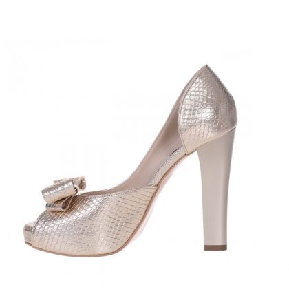 Pantofi toc inalt platforma piele aurie imprimeu sarpe