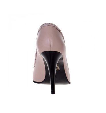 Pantofi peep toe nude inchis piele naturala
