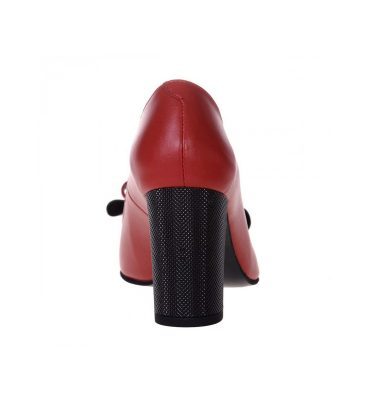 Pantofi rosii toc gros piele naturala
