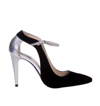 Pantofi stiletto piele intoarsa neagra piele argintie toc inalt