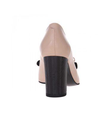 Pantofi toc gros piele naturala nude inchis