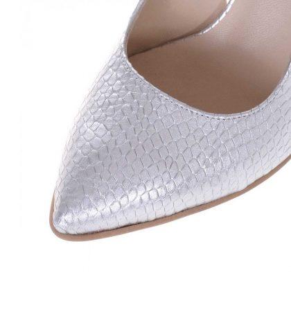 Pantofi toc jos piele naturala argintie imprimeu sarpe
