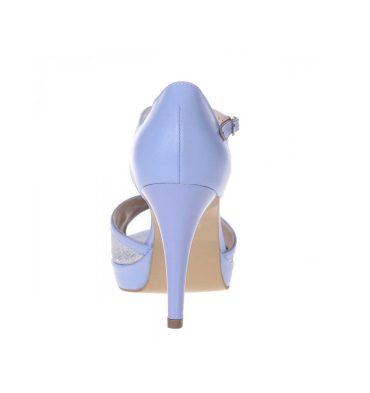 Sandale toc inalt platforma piele bleu si glitter argintiu
