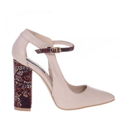 Pantofi dama toc gros piele nude piele grena imprimeu