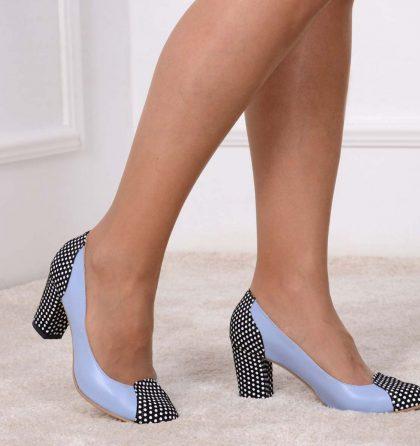 Pantofi office toc jos piele bleu piele imprimeu buline