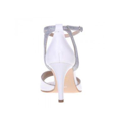 Sandale mireasa piele alba si glitter argintiu
