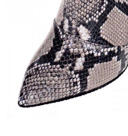 Botine dama stiletto piele imprimeu sarpe