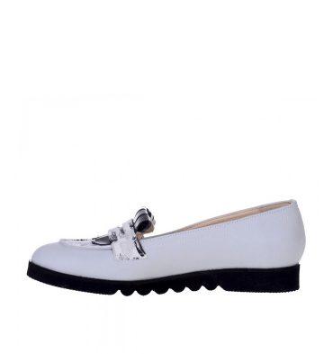 Pantofi loafers dama piele naturala gri